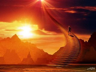 Man on stairs to heaven